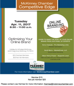McKinney, TX Chamber of Commerce online branding event