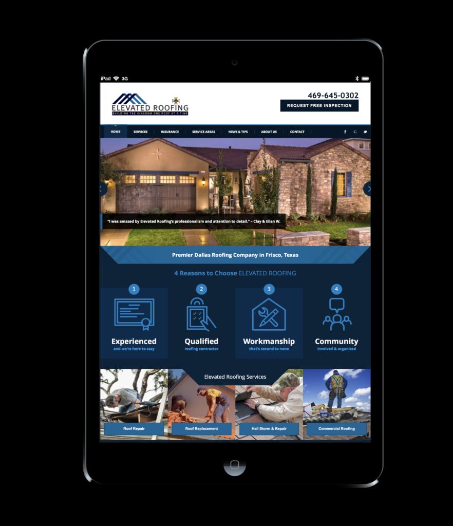 Elevated Roofing Website Design black ipad
