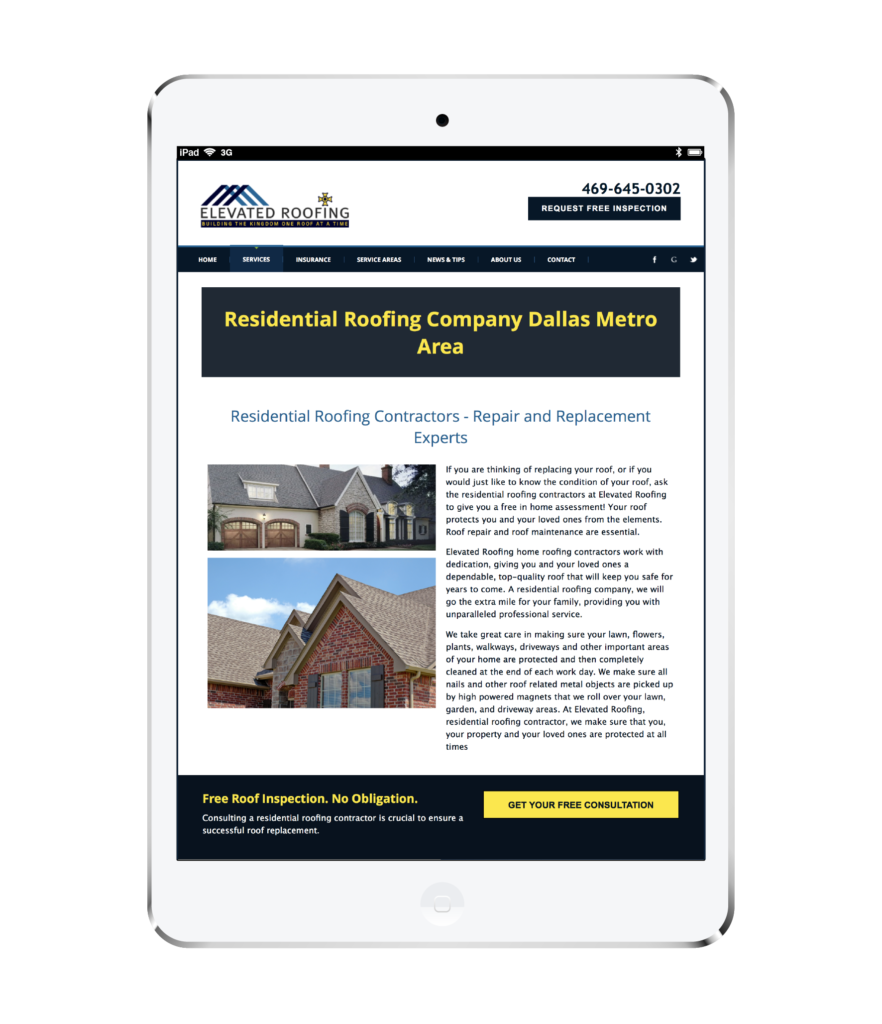 Elevated Roofing Website design White Ipad