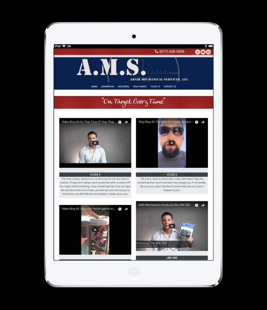 A.M.S. Website Design White Ipad