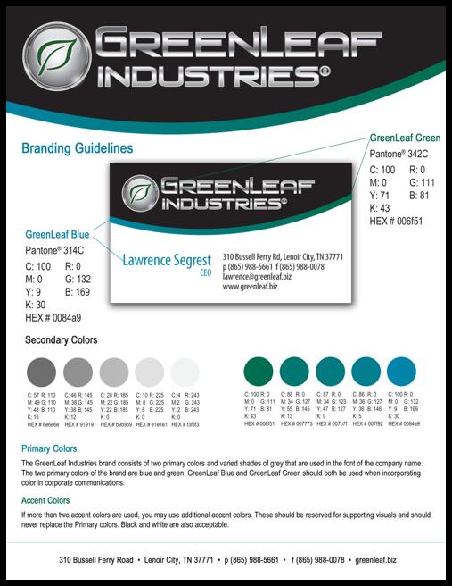GreenLeaf Industries Manufacturing Website Branding Guidelines