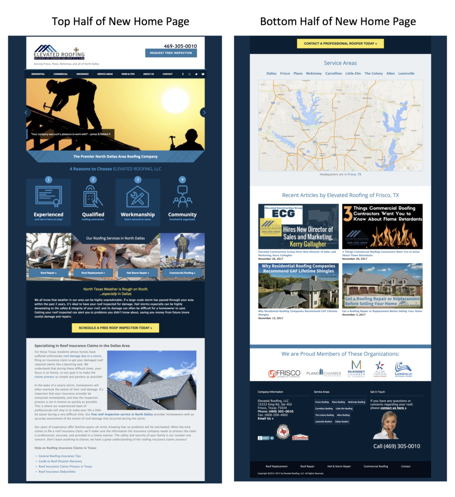 Elevated Roofing Home Page ScreenShot