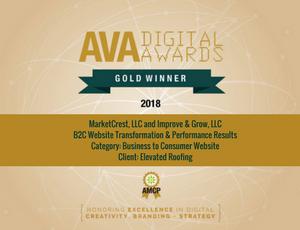 MarketCrest Wins AVA Marketing Award B2C Website Performance