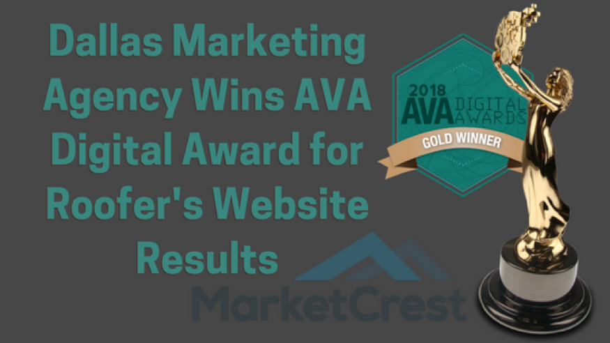 Dallas Marketing Agency Wins AVA Digital Award for Roofer's Website Results - Roofing Marketing